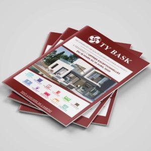 Communication : Mockup de la couverture du prospectus de l'opération commerciale de printemps de Ty Bask pour préparer votre habitat aux beaux jours