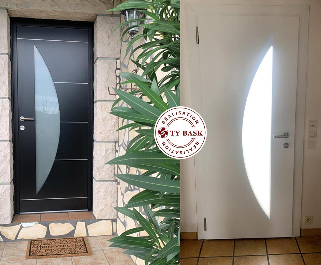 Montage photo d'une réalisation des équipes Ty Bask : pose d'une porte monobloc bicoloration de chez K-Line