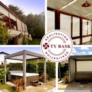 Exemple de réalisation à Bidart avec la pose d'une pergola Open R1 de chez le fabricant Marquises par l'entreprise Ty Bask spécialiste de la fermeture de l'habitat sur la côte basque et le sud des landes.