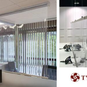 Écrans protecteurs et stores enrouleurs séparateurs Shields du fabricant Bandalux disponibles chez Ty Bask, artisan spécialiste de la fermeture de l'habitat et des locaux professionnels au pays basque et sud des landes