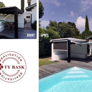 Exemple de réalisation Ty Bask à Anglet : conception et rénovation d'un toit et pose de screen Solarfix et store-banne pour un espace détente.