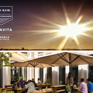 Les parasols géants et voiles d'ombrage de la marque Caravita disponibles chez Ty Bask, spécialiste de la fermeture de l'habitat au pays basque et sud des landes.