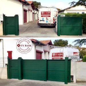 Pose d'un portail télescopique en aluminium posé à Urrugne par les équipes Ty Bask, le spécialiste de la fermeture de l'habitat au pays basque et sud des Landes.