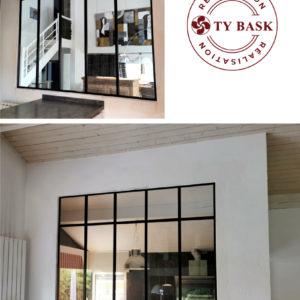 Verrière atelier posée à Saubion (40) par les équipes de spécialistes de Ty Bask, entreprise de menuiserie, experte de la fermeture de l'habitat intervenant au pays basque et sud des landes.